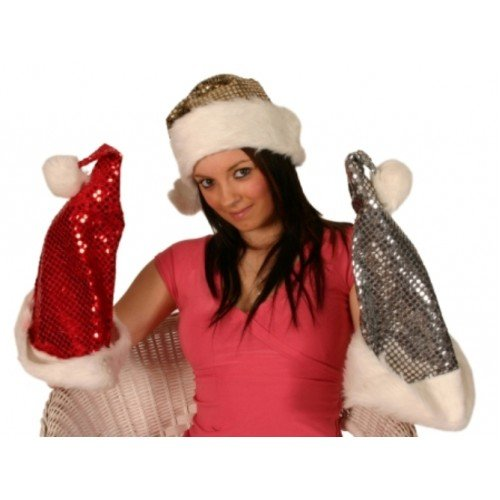 Santa Hat Metallic Sequin Red with Fur-H6714R