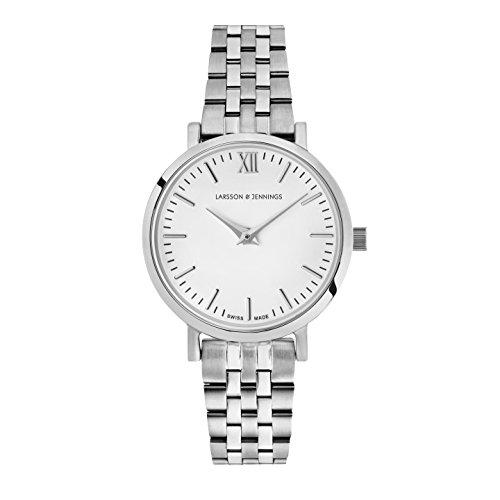 Larsson & Jennings Damen Datum klassisch Quarz Uhr mit Edelstahl Armband LGN26-5LSLV-C-Q-P-SW-O