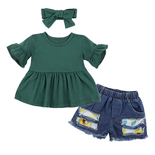 Toddler Baby Girl Clothes Ruffled Short Sleeve Tunic Top Dress + Jeans Shorts + Headband 3Pcs Outfit Set 4-5T Light Green