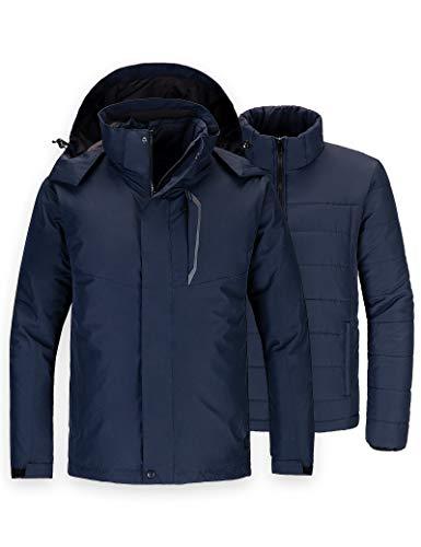 Wantdo Men's Waterproof 3 in 1 Ski Jacket Hooded Snow Coat Navy Blue Medium