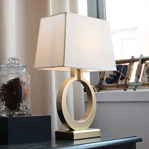 BICCQ table lamps LED Gold Ring Beige Square Warm Light Bedside Table Bedroom Study Office Restaurant Fashion Simple Lighting Lamps
