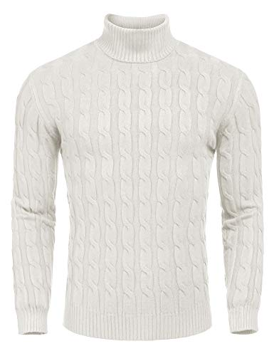 COOFANDY Men's Slim Fit Turtleneck Sweater Casual Twisted Knitted Pullover Sweaters (Small, White)