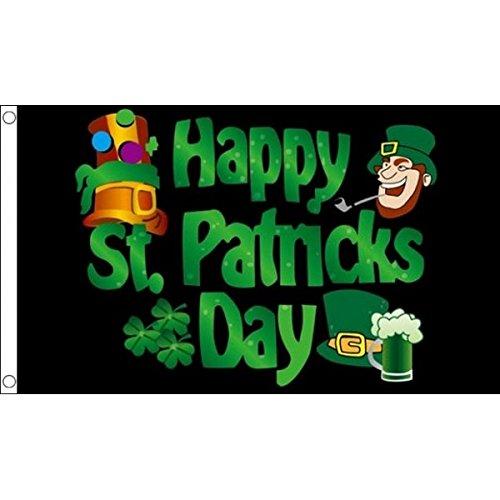 5 ft x 3 ft 150 x 90 cm-Happy St Patricks Day Leprechaun irlandais 100 Noir %Polyester-matière Drapeau Banniere idéale pour Festival bar Club l'activité Décoration de Fête