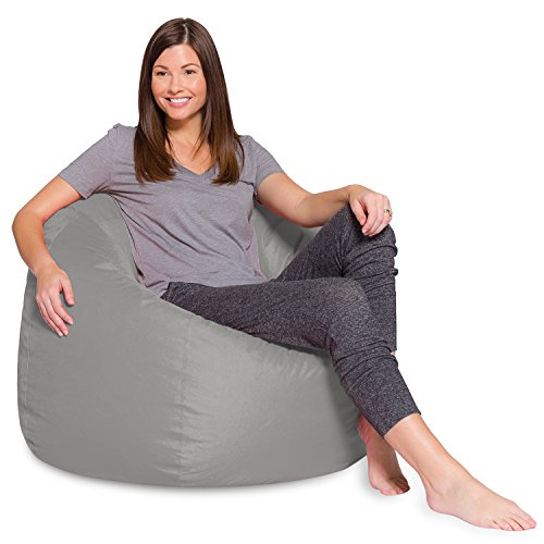 Posh Beanbags Big Comfy Bean Bag Posh Large Beanbag Chairs with Removable Cover for Kids, Teens and Adults Polyester Cloth Puff Sack Lounger Furniture for All Ages, 48in Extra, Solid Gray