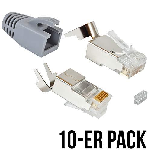 VESVITO 10er Pack RJ45 Crimpstecker für CAT 7A CAT 7 CAT 6A Kabel, bis 10 Gigabit Ethernet, Netzwerkstecker Steckverbinder mit Knickschutz in Grau für Verlegekabel Netzwerk LAN Patchkabel