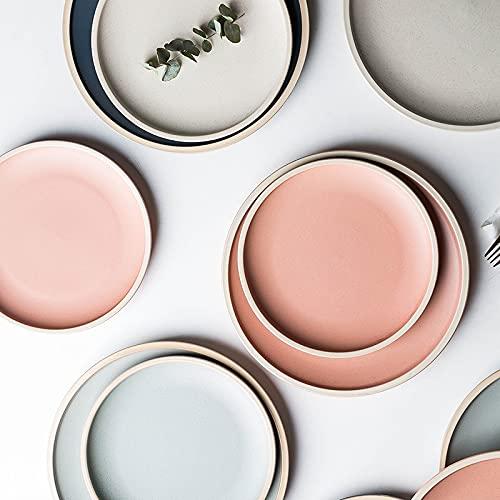 PPuujia Plato de cena esmaltado de porcelana de 8,3/10 pulgadas, platos para pizza, pasta, platos para servir, platos de carne, postre, vajilla (color coral, 25,4 cm)