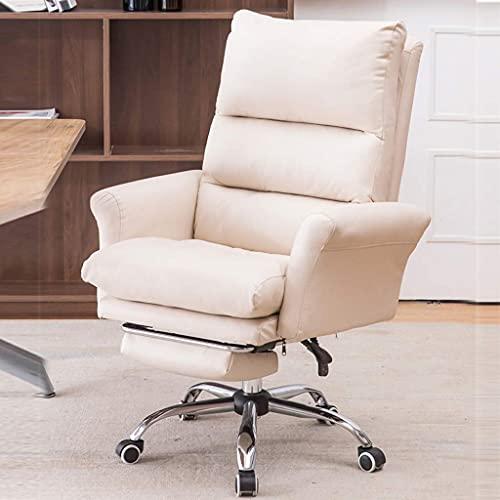 DGHJK Silla Boss de Cuero, ergonomía Silla de Oficina giratoria con Respaldo Alto, Altura Ajustable, cómodas sillas para computadora, sillón reclinable con reposapiés retráctil, para Dormitorio/Sala