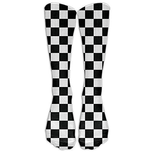 YuanHu Casual Erwachsene Fußball-Fußball-Sport-Strümpfe Schachbrett Schwarz Weiß grphic Compression Mädchen-Lange Socken