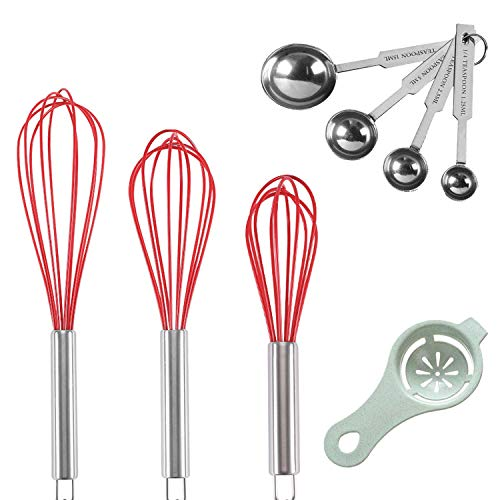 """Stainless Steel Whisk, Whisk Set with Measuring Spoon and 8""""+10""""+12"""" Wire Whisk for Cooking Blending, Beating, Stirring, Baking (Red)"""