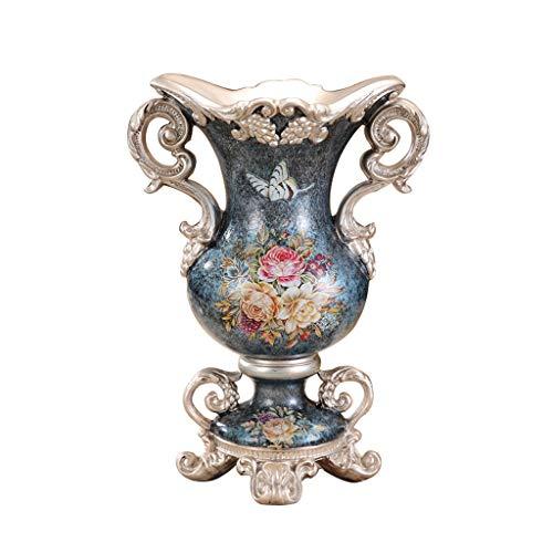 CZX decoratieve hoge vloer vaas 30,5 inch hoog, hibiscus bloem patroon bloempot dubbele oor, Amerikaanse voor thuis binnen woonkamer kantoor wijnkast of bruiloft cadeau