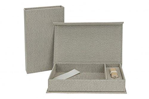 Bruiloft USB-opbergdoos met fotobox 13 x 18 cm. linnen.
