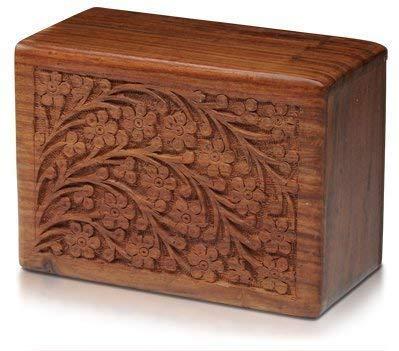 S.B.ARTS - Urna in legno per ceneri umane, realizzata a mano e realizzata a mano, per incisioni a forma di albero della vita, scatola in legno per adulti, Extra Small, Nero , XS
