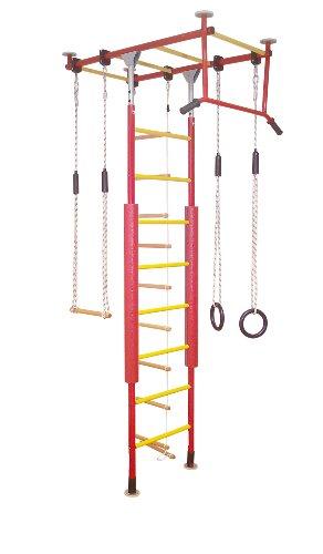 KletterDschungel Sprossenwand Indoor Klettergerüst für den Kindersport (Rot/Gelb, für Raumhöhen von 205-240 cm)