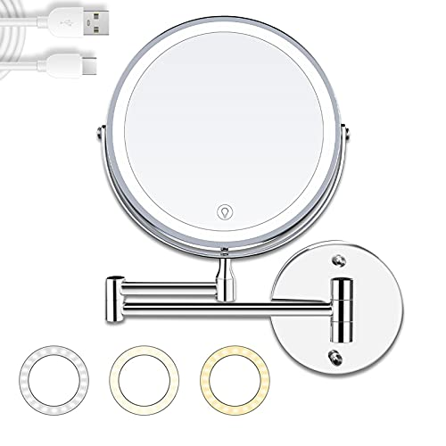 Specchio Trucco, Specchio Ingranditore 10X, 8 Pollici Specchio Bagno Specchio Trucco con luci Specchio Cosmetico da Parete Dimmerabile con luci a led 3 colori, USB Ricaricabile, Rotazione a 360°