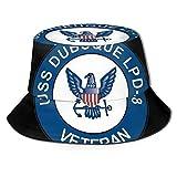 Henry Anthony Marina de los EE. UU. USS Dubuque LPD-8 Barco Veterano Impreso Pescador Bucket Sun Hat, Funky Junque Bucket Caps, Dad Hat