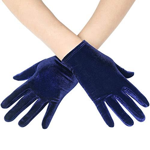 Coucoland Damen Handschuhe Satin Classic Opera Fest Party Audrey Hepburn Handschuhe 1920s Handschuhe Damen Lang Kurz Elastisch (Velvet Dunkelblau/22cm)