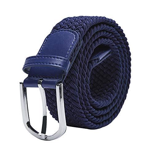 TANGCHAO Cintura Elastica Intrecciata per Uomo e Donna Cinturino Elastica Intrecciata con Fibbia in Lega di Zinco 33mm (1.25') Colori Multipli blu 105