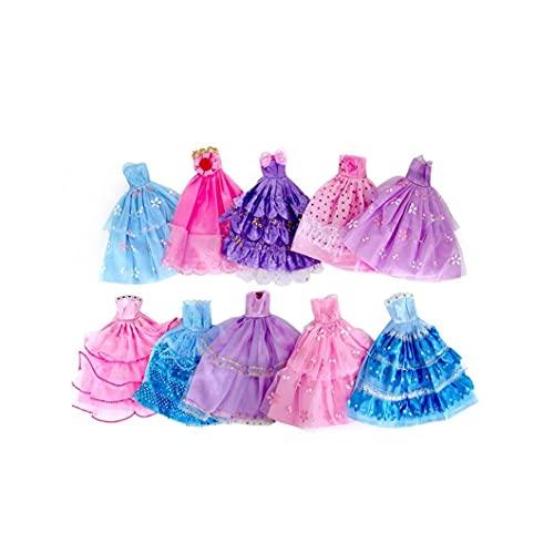 IzzDynno Ropa De Muñeca Vestido De Color De Color Aleatorio Vestido De Muñeca Hecha a Mano Novedad Vestido para La Fiesta De Muñecas Vestido De Novedad Falda De Noche Regalos De Niños