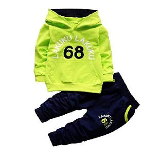 Kleinkind Trainingsanzug Herbst Baby Bekleidungssets Kinder Jungen Mädchen Mode Marke Kleidung Kinder Kapuzenpullover T-Shirt und Hose Gr. 98, Ax 68-1 Grün