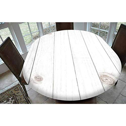 Grey and White Polyester Fitted Tablecloth,Wooden Planks Horizontal Lined Rustic Timber Soft Tone Oak Background House Image Decorative Oblong Elastic Edge Fitted Table Cover,Fits Oval Tables 68x48 W
