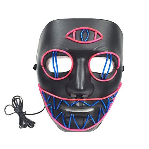 Amosfun Halloween Purge Maske led leuchten Maske Scary kreative Maske Cosplay kostüm zubehör für Halloween Karneval Maskerade Party Dekoration (ohne Batterie)