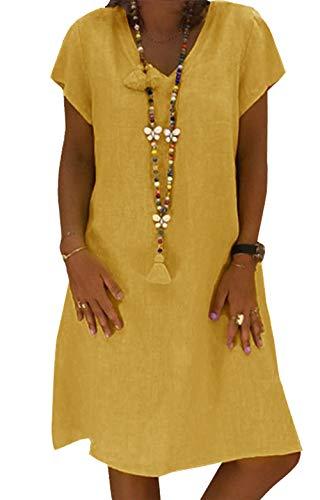 Yidarton Sommerkleid Leinen Kleider Damen V-Ausschnitt Strandkleider Einfarbig A-Linie Kleid Boho Knielang Kleid Ohne Zubehör(Gelb,M)
