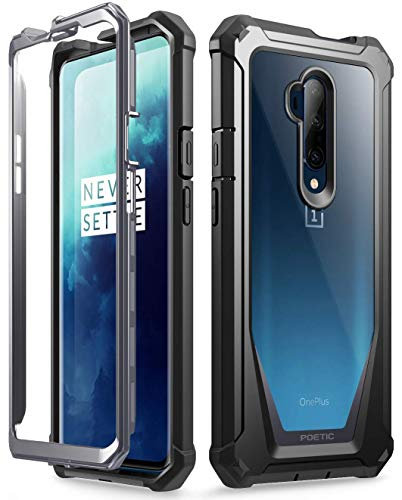 Poetic Guardian Series Designed for OnePlus 7T Pro/OnePlus 7 Pro Case, Full-Body Hybrid Shockproof Bumper Cover with Built-in-Screen Protector, Black/Clear