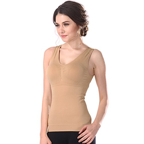 Women's Cami Shaper Tank Top with Built in Removable Bra Body Shaper Camisole (Khaki, X-Large)