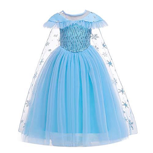 MSemis Disfraz Bella y Bestia para Niñas Vestido Largo Princesa Amarillo Traje Lujoso Cosplay Princesa Durmiente con Accesorios Disfraces Navidad Cumpleaños Fiesta Azul 7-8 años