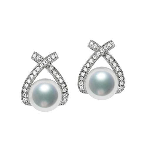 KnSam 18K Oro Blanco Pendiente, Arete Knot Forma con Perla Diamante Blanco, Perla Blanco, Color Oro Blanco