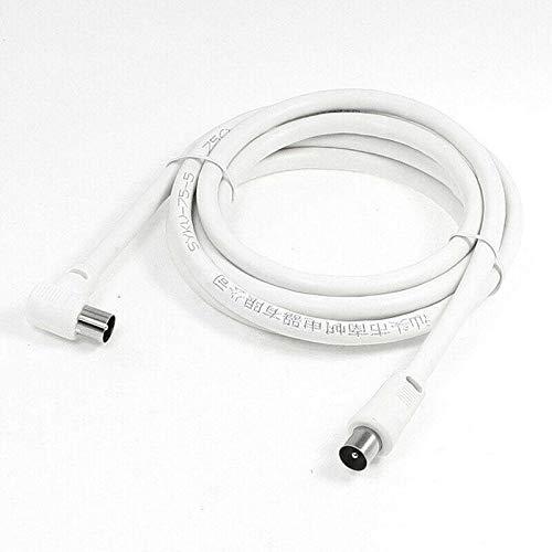 YEZIB - 1m 1.5m 2m RCA Cable de Plomo aéreo de Antena coaxial Macho a Hombre Blanco RF Cable de coaxico Individual TV RF Cable para el Laboratorio Escolar. (Color : 1.5M)