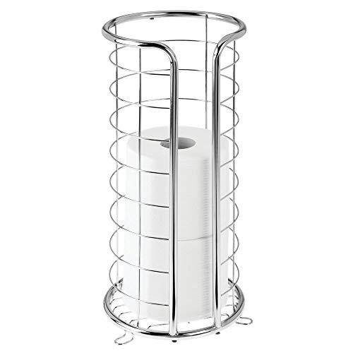 mDesign Toilettenpapierhalter freistehend – moderner Papierrollenhalter fürs Badezimmer – Klopapierhalter mit Halterung für 3 große Reserverollen – silberfarben