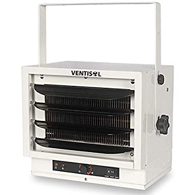 VENTISOL 5000W Space Heater Heavy-duty Fan-forced Ceiling Mounted Heater With Bracket And Thermostat for Garage, Home,Factory,Basement, White