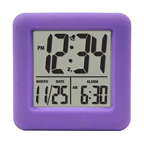 Fgyhty Cubo de Silicona Reloj Despertador 12/24 Hora de los Grandes números Pantalla LCD Digital de Alarma luz Nocturna púrpura