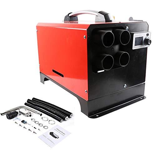 QUUY 5 KW 12 V/24 V luftdieselvärmare 4 hål bränslehjälpsvärmare med LCD-display röstsändningsfunktion lufthjälpsvärmare för lastbilar, båtar, husbilar, röd, 12 V