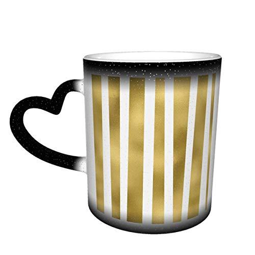 Hdadwy Taza de café de cerámica que cambia el calor, rayas doradas desiguales en blanco transparente Patrón vertical Sensible Taza de té mágica para café, té, leche o cacao para hombres, mujer