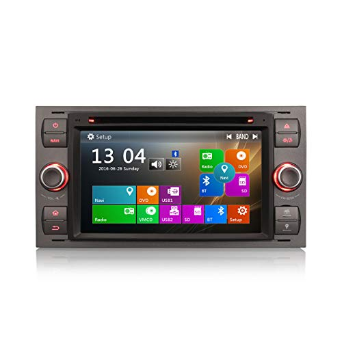 Erisin 7 Zoll Autoradio für Ford C/S-Max Focus Kuga Fiesta Transit Connect Galaxy Multimedia Player mit USB SD Navi Unterstützt Bluetooth 3G DVD DVR Lenkradfernbedienung Radio DTV