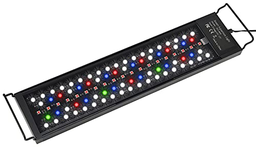 HiTauing LED Aquarium Light, Auto On Off 18-24 Inch Full Spectrum Fish Tank Light Plant Aquarium Programmable Lights with Timer, Imitate Sunrise and Sunset, Dimmable 7 Colors, IP68 Waterproof