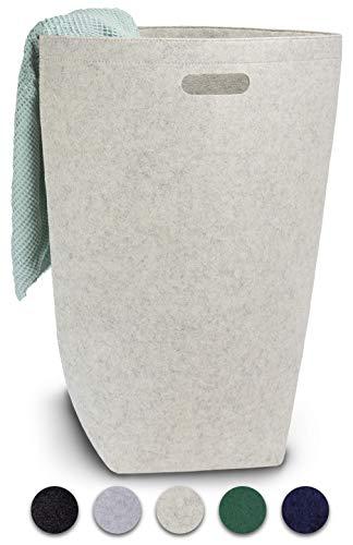 Elwin Neiles® <80L/Hellgrau> Designer Wäschekorb aus stilvollem Filz - Faltbarer Wäschesammler mit Griffen & Magnetverschluss - Wäschesack