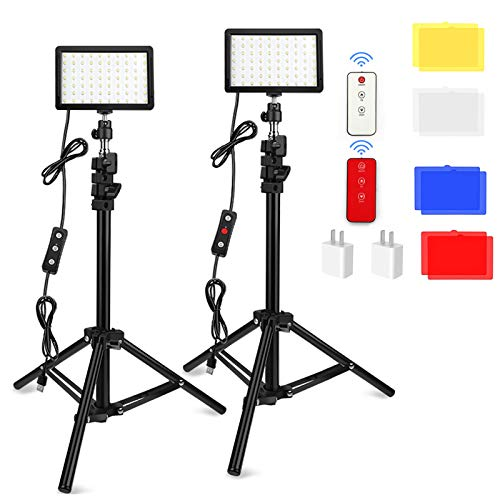 2 Packs 70 LED Video Light with Tripod Stand/Color Filters/Remote Control/USB Wall Charger Obeamiu 5600K USB Studio Shooting Kit for Photography Lighting Game Streaming Conference Zoom Calls