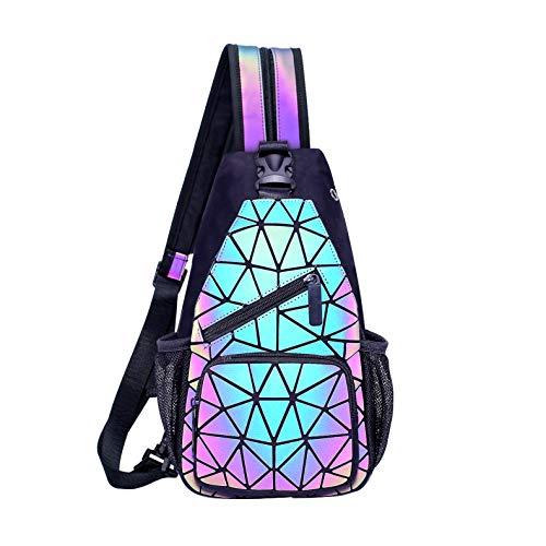 FZChenrry Geometrische Umhängetasche Geometrischer Rucksack Damen Leuchtender Holographic Rucksäcke Reflektierend Festival Tasche NO.1