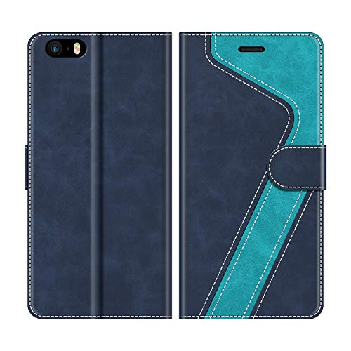 MOBESV Handyhülle für iPhone 5S Hülle Leder, iPhone SE Klapphülle Handytasche Case für iPhone SE/iPhone 5S / iPhone 5 Handy Hüllen, Modisch Blau(Nicht kompatibel mit iPhone SE 2020)