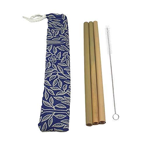 VIE Gourmet 3 Pajitas de Bambú en Bolsa de Batik, Tamaño 22 cm (VG-0103-BMB-STR-BTK-POUCH)