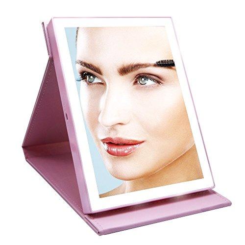 Cuir PU 46 - LED rechargeable - Miroir cosmétique sans fil pliable portable avec câble de charge USB et cercle LED lumineux pour voyage (noir) - rose