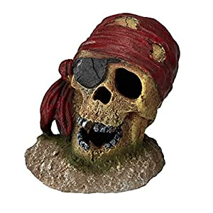 Aqua Della Pirate Skull Eye-Patch Aquarium Decoration, 7 x...