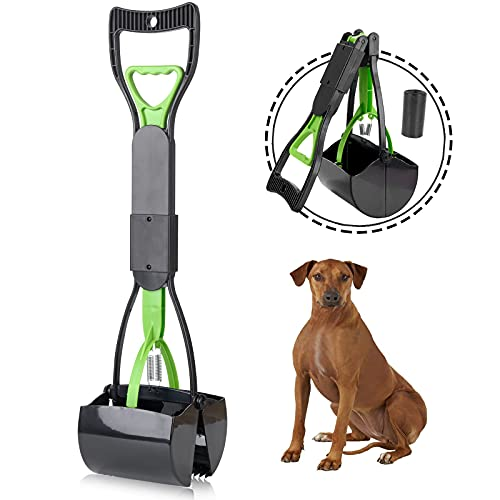 YJLIDJY Non-Breakable Pooper Scooper for Large & Medium & Small Dogs, Foldable Long Handle, High Strength Materials & Durable Spring, Easy to Use Clean, Great for Gravel, Grass, Concrete, Yard