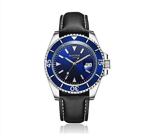 Blenheim London® Men's Navigator Luminoso vetro zaffiro a quadrante blu