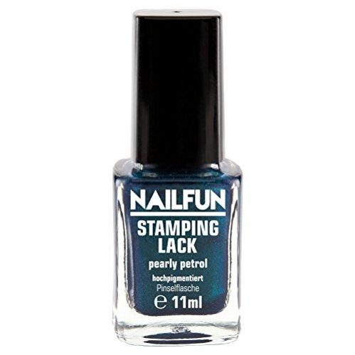 NAILFUN Stampinglack PEARLY PETROL 11ml Pinselflasche - Stamping Nagellack - 1 x 11ml
