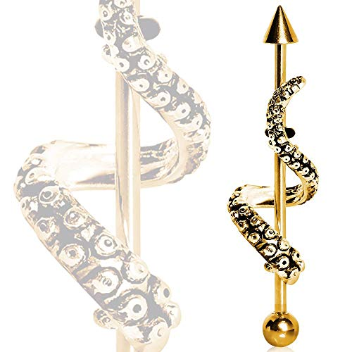 Wrapped Around Tenticle Gold Plated With Ball and Spike Surgical Steel 1.6mm x 38mm Industrial Barbell Earring Piercing Jewellery