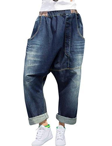Zoulee Damen Hip Hop Drop Crotch Ripped Harem Jeans Sreet Denim Hose -  -  M/L